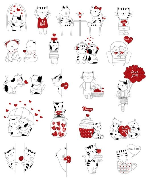 Coleção de animais casal mão desenhada dos namorados Vetor Premium