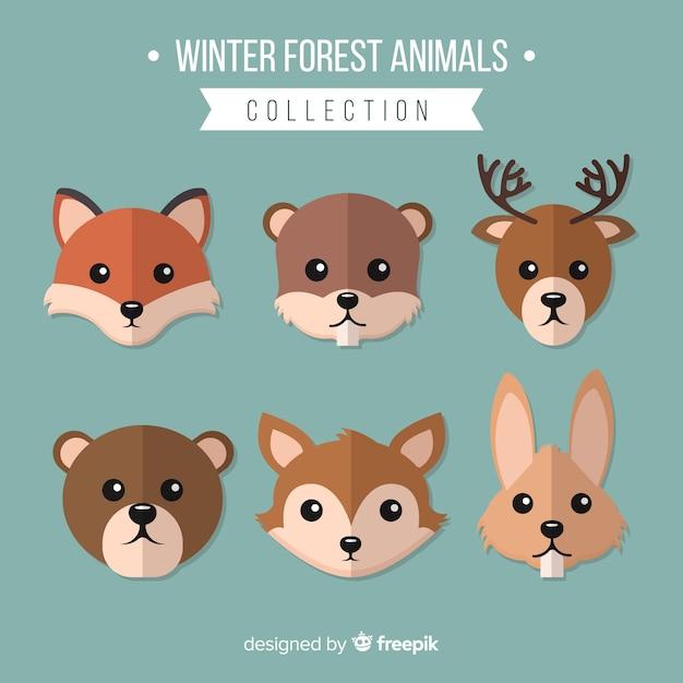 Coleção de animais da floresta de inverno Vetor grátis