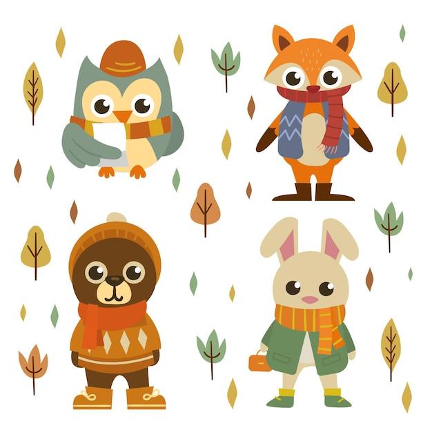 Coleção de animais da floresta de outono desenhada à mão Vetor grátis