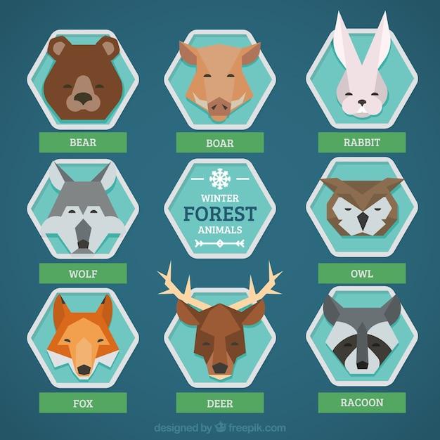 Coleção de animais da floresta no estilo geométrico Vetor grátis