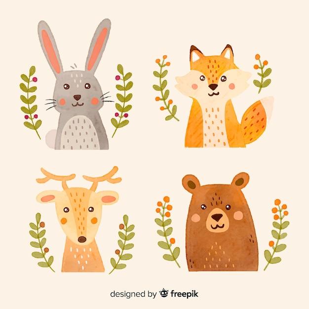 Coleção de animais da floresta outono aquarela Vetor Premium