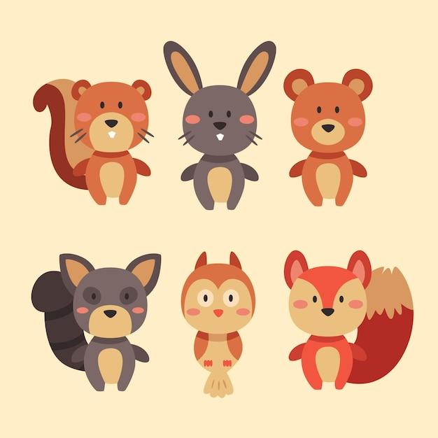 Coleção de animais da floresta outono Vetor grátis