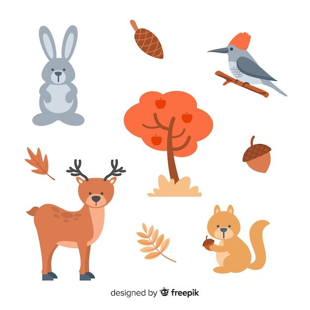 Coleção de animais da floresta plana Vetor grátis