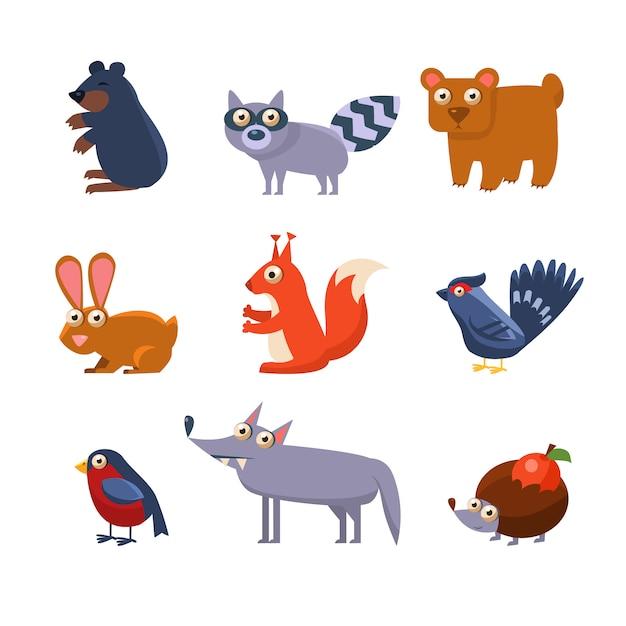 Coleção de animais da floresta selvagem Vetor Premium