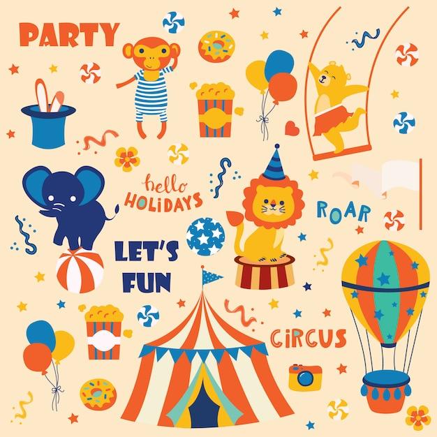 Coleção de animais de circo bonito. Vetor Premium