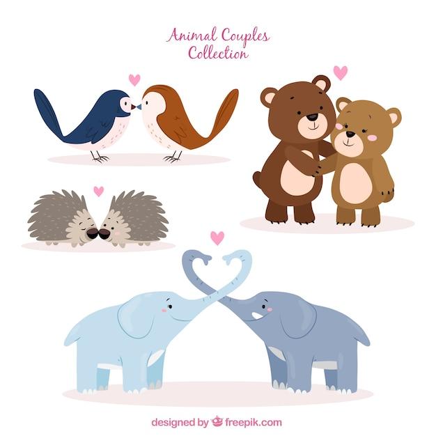 Coleção de animais de estimação do dia dos namorados desenhada mão Vetor grátis