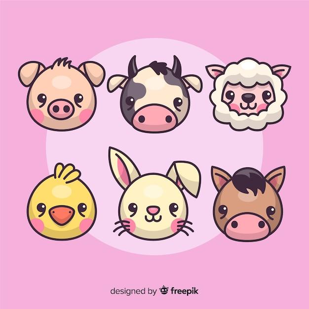 Coleção de animais de fazenda design plano Vetor grátis