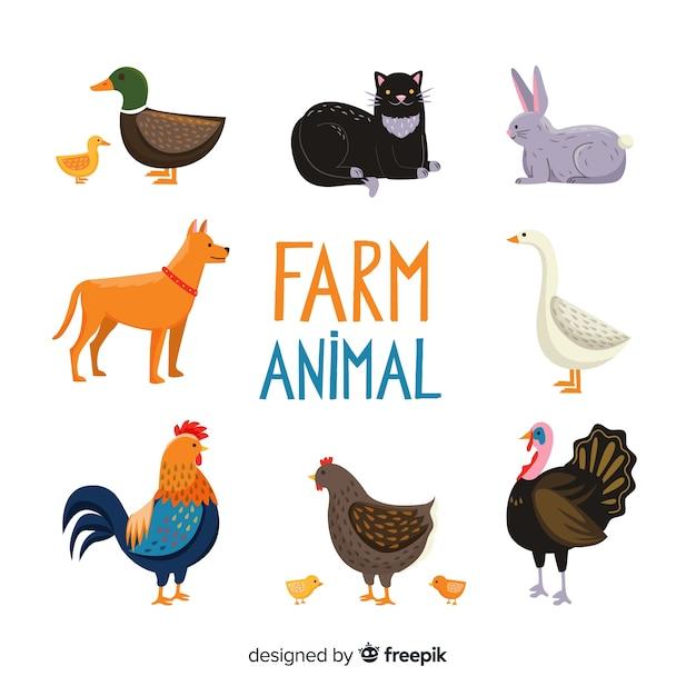 Coleção de animais de fazenda plana Vetor grátis