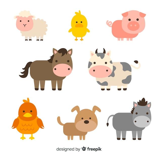 Coleção de animais de fazenda plana Vetor Premium