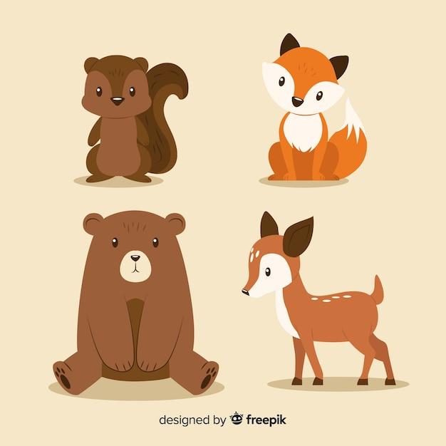 Coleção de animais de floresta plana outono Vetor Premium