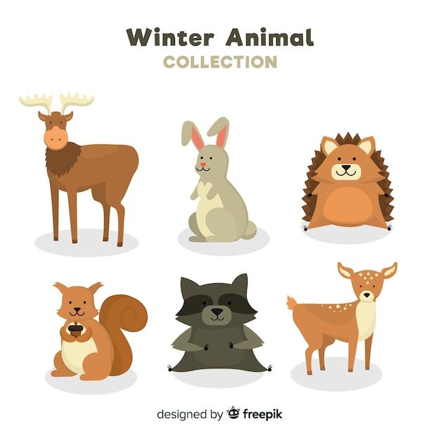 Coleção de animais de inverno Vetor grátis