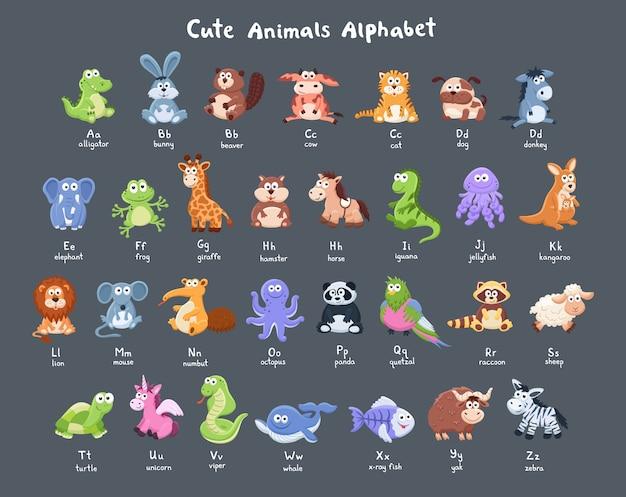Coleção de animais dos desenhos animados Vetor Premium