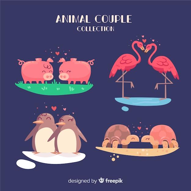 Coleção de animais dos namorados casal Vetor grátis