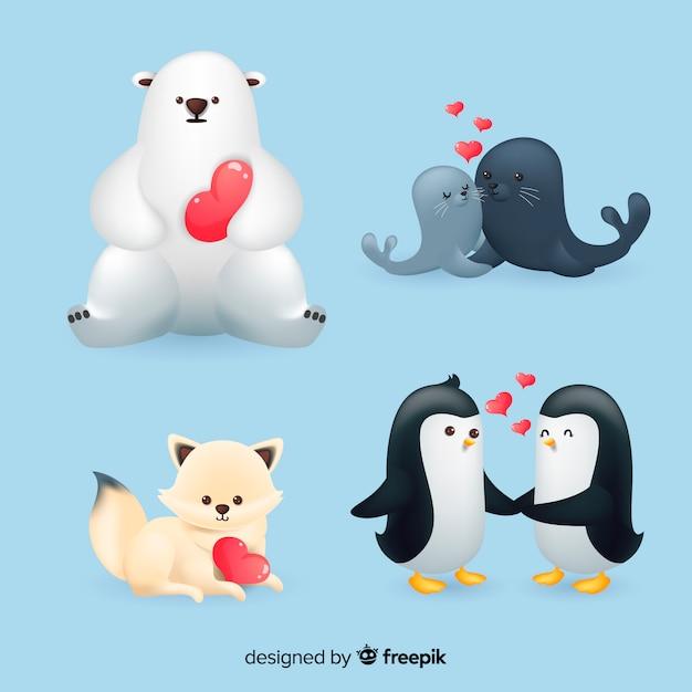 Coleção de animais dos namorados Vetor grátis
