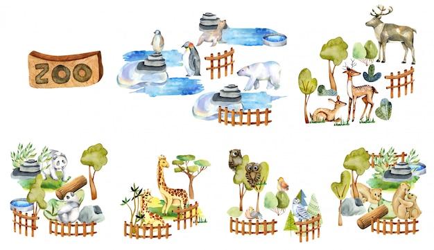 Coleção de animais em aquarela, elementos e atributos do zoológico Vetor Premium