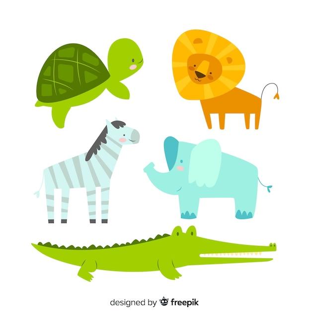 Coleção de animais em estilo infantil Vetor grátis