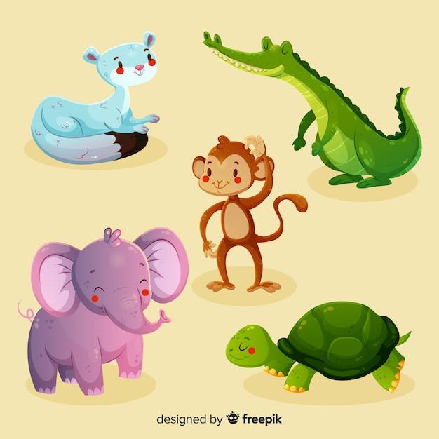 Coleção de animais engraçados dos desenhos animados Vetor grátis
