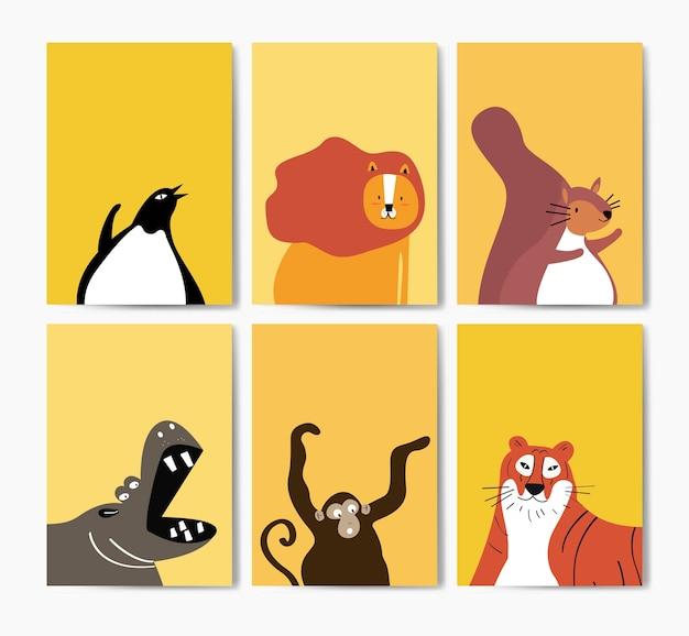 Coleção de animais fofos no vetor de estilo dos desenhos animados Vetor grátis