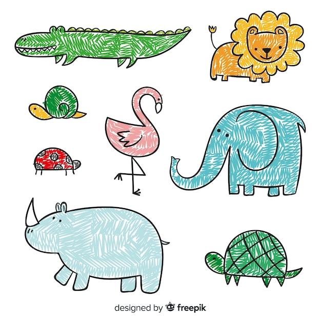 Coleção de animais no estilo infantil Vetor Premium