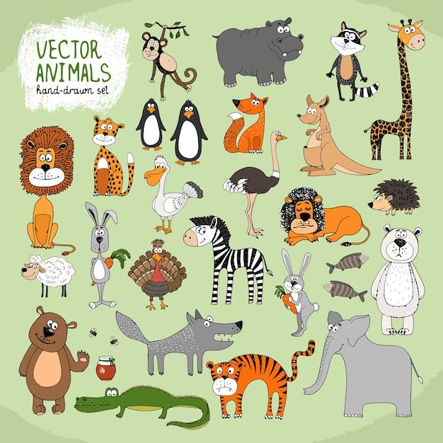 Coleção de animais selvagens de desenho à mão Vetor grátis