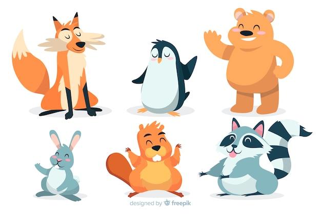 Coleção de animais selvagens dos desenhos animados artísticos Vetor grátis