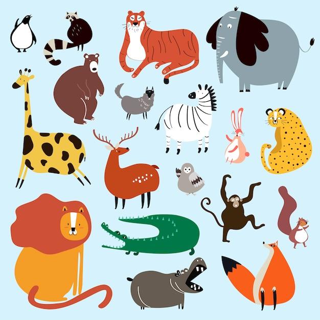 Coleção de animais selvagens fofos no vetor de estilo dos desenhos animados Vetor grátis