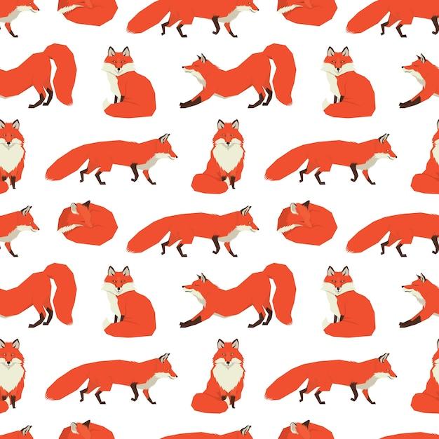 Coleção de animais selvagens fundo das raposas vermelhas Vetor grátis