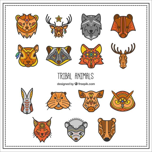 Coleção de animais tribal Vetor grátis