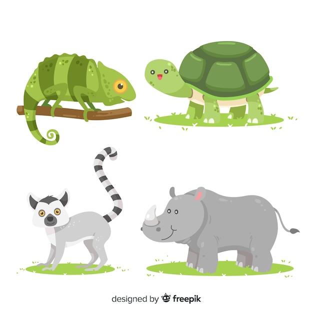 Coleção de animais tropicais design plano Vetor Premium