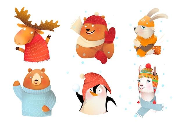 Coleção de animais vestindo roupas quentes de malha de lã Vetor Premium