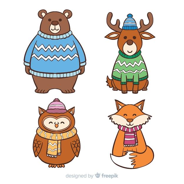 Coleção de animales de inverno bonito Vetor grátis