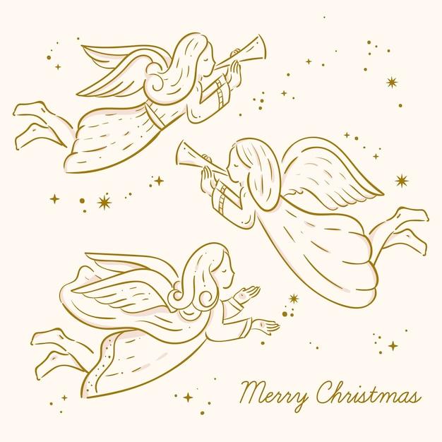 Coleção de anjo de natal dourado Vetor Premium