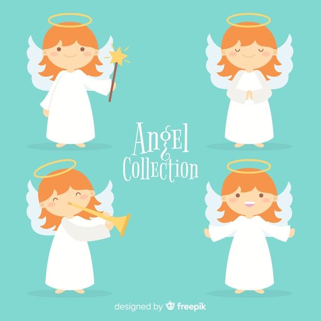 Coleção de anjos de natal planas Vetor grátis
