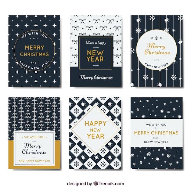 Coleção de ano e Natal novos cartões no estilo retro Vetor grátis