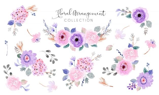 Coleção de aquarela de arranjo floral rosa roxo suave Vetor Premium