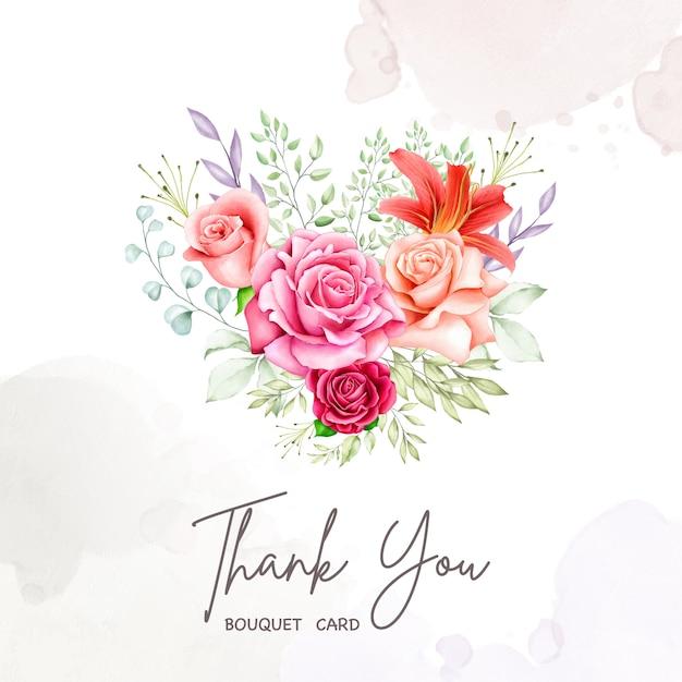 Coleção de aquarela de quadro de buquê de flor Vetor Premium