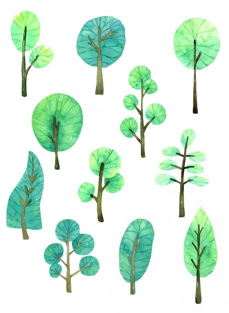 Coleção de aquarela desenhada de árvore na mão Vetor Premium