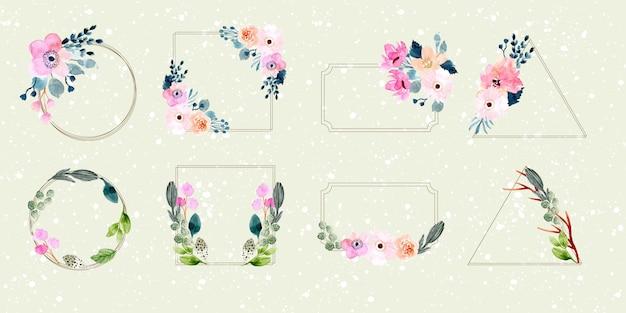 Coleção de aquarela floral frame Vetor Premium