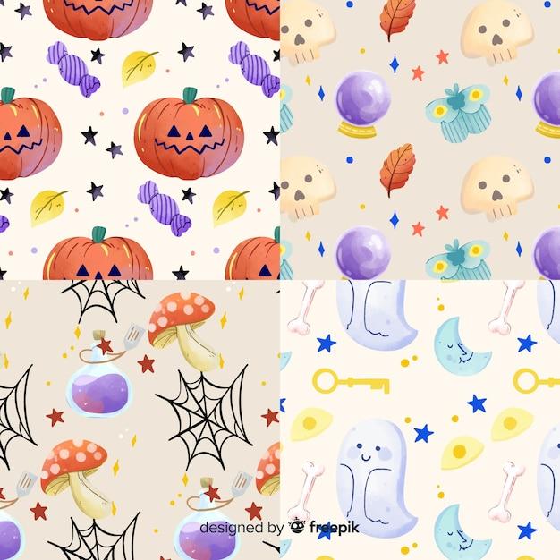 Coleção de aquarela padrão de halloween Vetor grátis