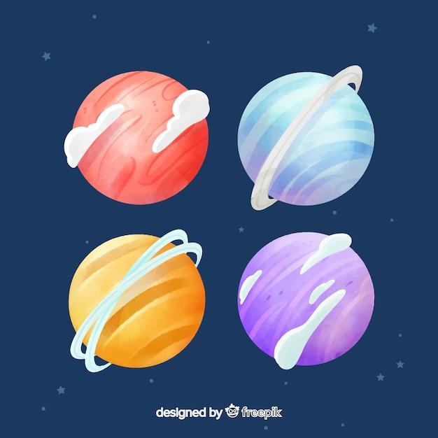 Coleção de aquarela planeta com um fundo estrelado Vetor grátis