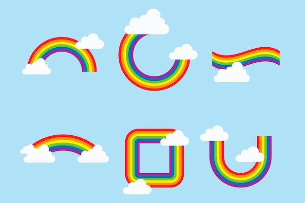 Coleção de arco-íris coloridos com nuvens Vetor grátis