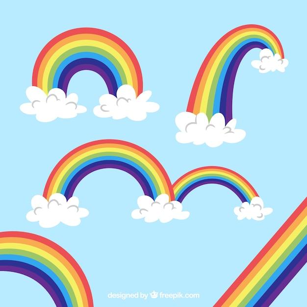 Coleção de arco-íris com formas diferentes em syle plana Vetor grátis