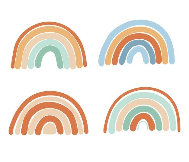 Coleção de arco-íris simples abstratos nas cores hortelã, azul e marrom, elementos isolados Vetor Premium