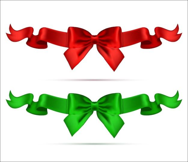 Coleção de arcos realistas de seda com fitas. Vetor Premium