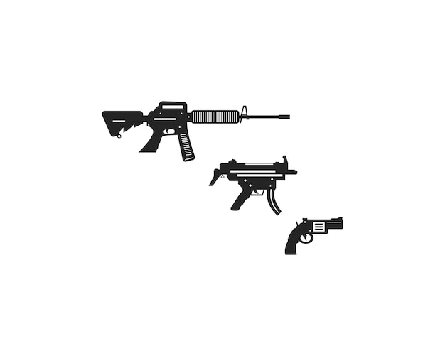 Coleção de arma militar plana Vetor Premium