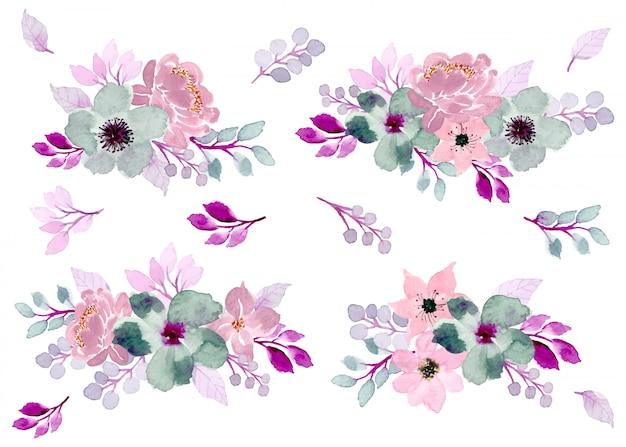 Coleção de arranjo de aquarela floral suave Vetor Premium