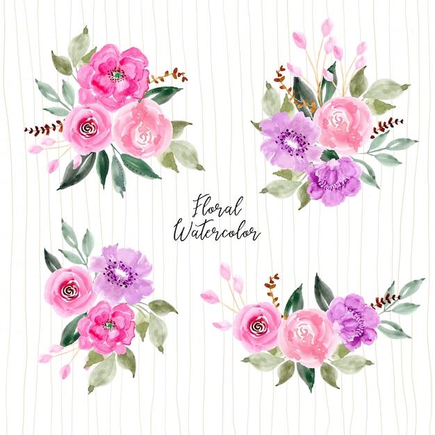 Coleção de arranjo de flor aquarela rosa e roxo Vetor Premium