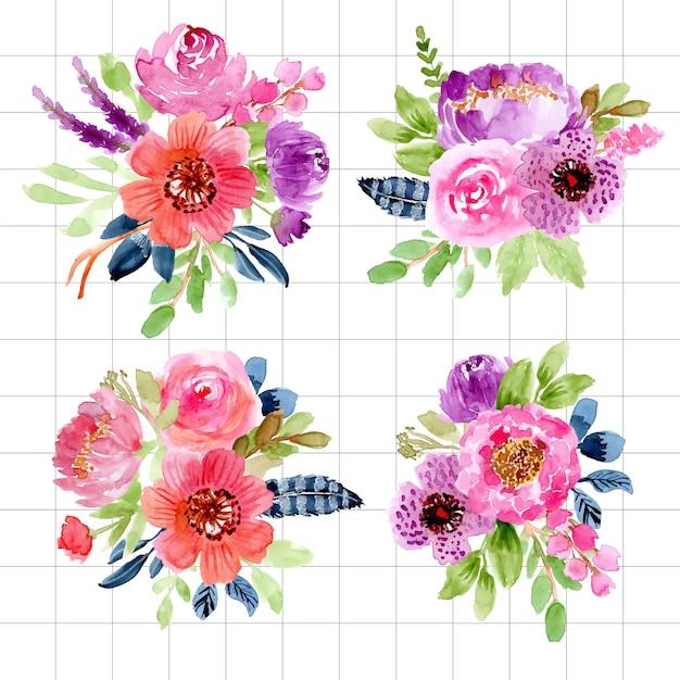 Coleção de arranjo floral em aquarela Vetor Premium