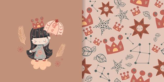 Coleção de arte pop de linha abstrata estilo boêmio com ilustração de elementos de menina e padrão sem emenda. Vetor Premium