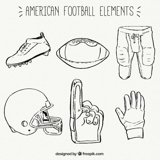 e9c339f6f Coleção de artigos de futebol americano desenhados à mão